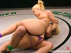 Blonde Amazons Ride Each Other On The Wrestling Mat!