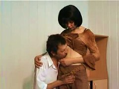 Middle-aged Man Teaches A Black Haired Babe A Few Lessons