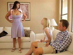 Spoiled Teen And Hot Cougar Share One Cock In Threesome