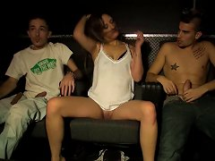 Desirable Teen Gal Fucks Two Horny Studs In A Club At The Party