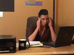 A Stressed Out Boss Fingers Her Hot Secretary To Relax