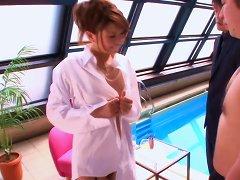 Busty Japanese Babe Masturbates By The Pool