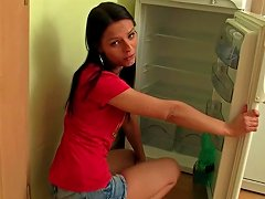 Pigtailed Brunette Is Fucking In Her Kitchen