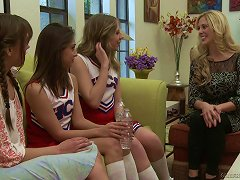 Adorable Cheerleaders In Uniform Engage In A Stimulating Lesbian Romance