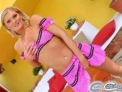 Mini-skirt Clad Blonde With A Hot Body Enjoying A Hardcore Gangbang