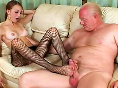 Skinny Babe Is Sucking That Tasty Old Dick