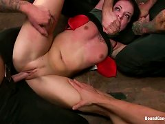 Submissive Bitch Gets Cock From All Sides, This Gangbang Gets Wild!
