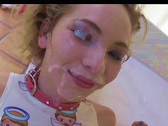 Teen Gets Her Cute Face Drenched In Cum