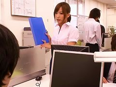 Cute Asian Office Babe Takes A Todger To The Twat