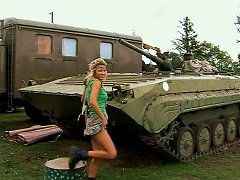 Big Tittied Blonde Hottie Strips On A Hood On Military Jeep