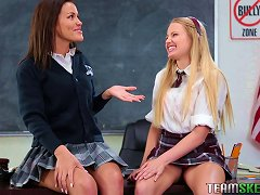 Classroom Threesome Session For A Pair Of Attractive Teen Ladies