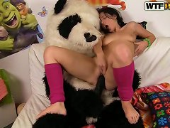 Real Sex Play For Horny Brunette Who Loves Her Panda