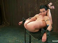 Hog Tied Brunette Gets Fucked With Strap-on By Two Girls