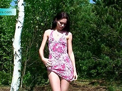 Pretty Skinny Brunette Yulia Is Peeing In The Nice Russian Forest