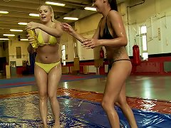 Brandy Smile And Cipriana Oil Each Other's Bodies And Have Fun On A Ring