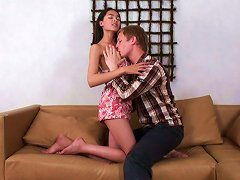 Tall Brunette Euro Babe On The Couch Gives Head And Gets Ready For Anal Sex