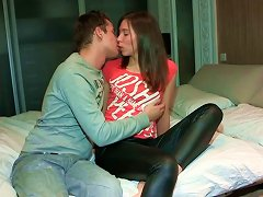 Juicy Russian Teen In Leather Pants Gets Eaten Before Giving Blowjob