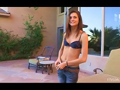 Skinny Solo Model Goes Naked By The Pool And Exhibits Her Booty