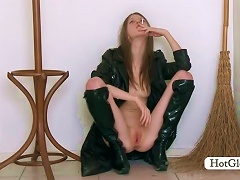 Gloria In Sexy Leather Coat Playing Teen Seductress