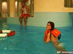 Swimming Instructor Penetrates A Pretty Teen's Shaved Pussy
