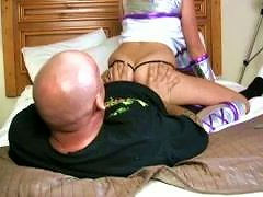 She Grinds On Her Old Perverted Friend Who Is About 50 Years Old