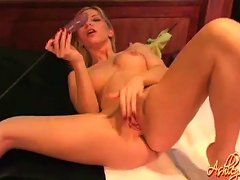 Ashley Fires Sucks Her Dildo And Pokes It In Her Shaved Cunt