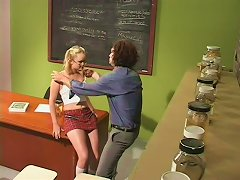 Pigtailed Blonde Amber Raye Gets Her Cunt Torn Up On A Desk