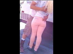Sexy Young Butt In Pink Jeans