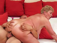 Insanely Perverted Granny Fucks Her Young Man On Top