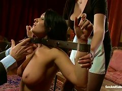 Two Sexy Chicks Share A Hard Cock In The Living Room