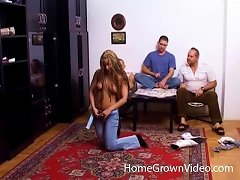 Babe With Long Braided Hair Fucked By Three Guys