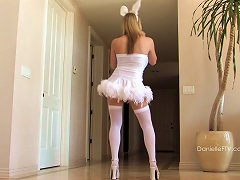 Kinky Blonde Wearing Playboy Costumes Anal Toying In Slow Repetitive Rhythm