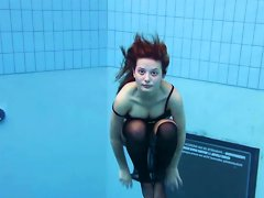 Redhead Crazy Teen Beauty Undresses Under Water In The Pool