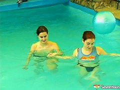 Salacious Lesbians Fondling In The Pool Before Sharing A Double Ended Dildo