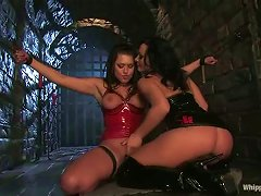 Hun In Red Latex Is Inflicted To Some Pain From Eva