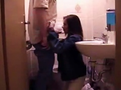 A Quick Blowjob In The Bathroom With A Teen Couple