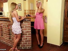 Two Beautiful Blondes Have Fun With Their Blonde Beavers