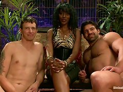 Ebony Dominatrix Handles Two Sexual Slaves With Skill. Tame Them Bitch!