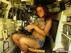 Horny Girl Plays With Her Teen Twat In An Army Tank