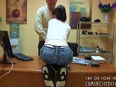 Young Teen Brunette Secretary Loves Pleasing Her Boss