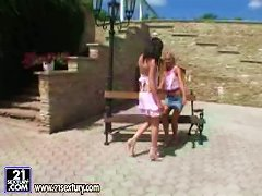 Ravishing Babes Are Getting Wild On The Bench Outdoors