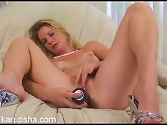 Long Toy Penetrating The Teen Pussy