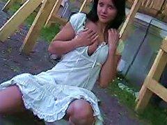 Cute Teen In White Dress Public Flashing