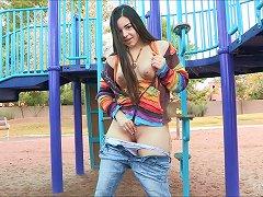 Adorable Nadine Masturbates Outdoors In A Public Park