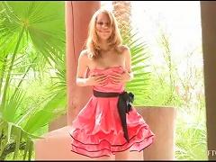 Kinky Blonde Teen In Cute Dress Masturbates With Her High Heel Shoes