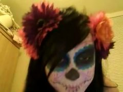 Freaky And Hot Emo Teen With Awesome Makeup And Majestic Booty