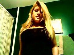 Chunky Blonde Teen With Big Boobs Masturbates On Webcam