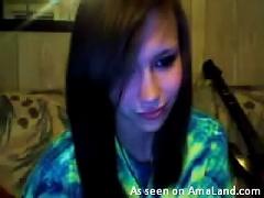 Video Of A Brunette  Girl Talking To Her Bf Via Webcam