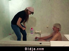 Young Maid Loves Banging Old Cock In Hairy Pussy