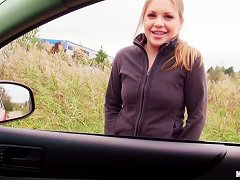Gorgeous Teen Girl Gets In His Car And Gives Great Head